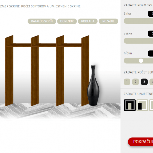 Online návrhár vstavaných skríň